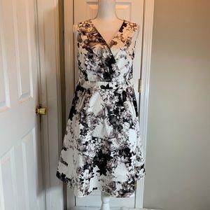 Lane Bryant Black/White Floral Dress - Size 16